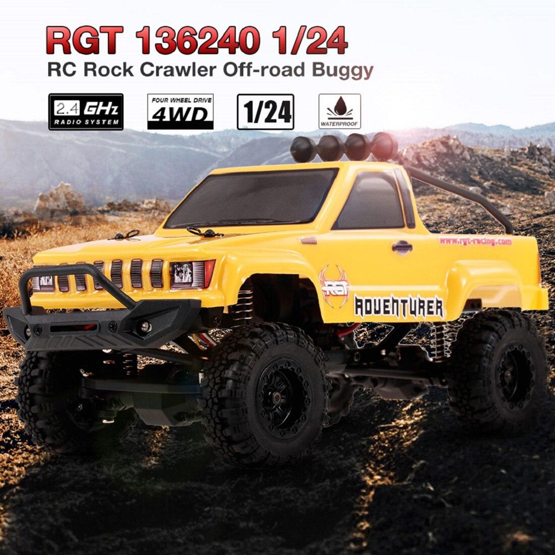 Rowsfire Rgt 1:24 2.4g 4wd 15 km/h Simulation véhicule tout-terrain Rc escalade voiture Rtr Version été jeux de plein air-jaune/rouge