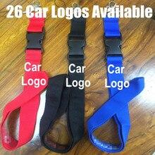 61c389cd6038 30 logotipos de coche disponible cordón llave ID tarjeta cuello Correa con  Auto emblema vehículo insignia llavero cadena anillo .
