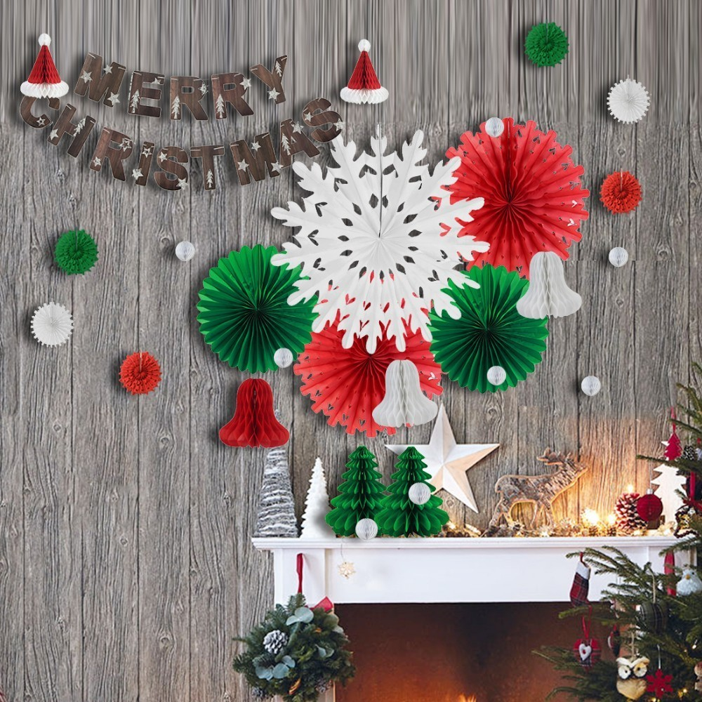 29pcs Christmas Decorations For Home With Santa Hat Christmas Tree Ornaments Snowflake Paper Fans Merry Christmas Banner Bell in Pendant Drop Ornaments from Home Garden