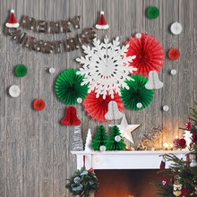 29pcs Christmas Decorations For Home With Santa Hat Tree Ornaments Snowflake Paper Fans Merry Banner Bell