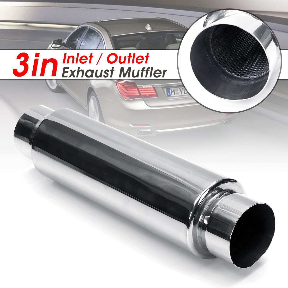 Universal Car Exhaust Resonator Muffler 76mm Inlet Outlet Exhaust Tip Pipe Tail Tube SilencerUniversal Car Exhaust Resonator Muffler 76mm Inlet Outlet Exhaust Tip Pipe Tail Tube Silencer