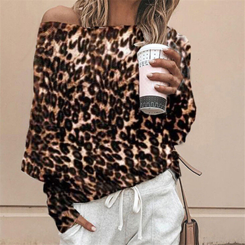 Fashion Women Blouses Leopard Print Top Women Off Shoulder Top Ladies Blouses And Tops Casual Womens Clothing Winter Female Tops Top