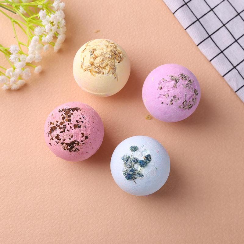 Купить с кэшбэком 4pcs Moisturizing Flower Bubble Bath Bomb Ball Essential Oil Bath SPA Stress Relief Exfoliating Fragrance Bath Products