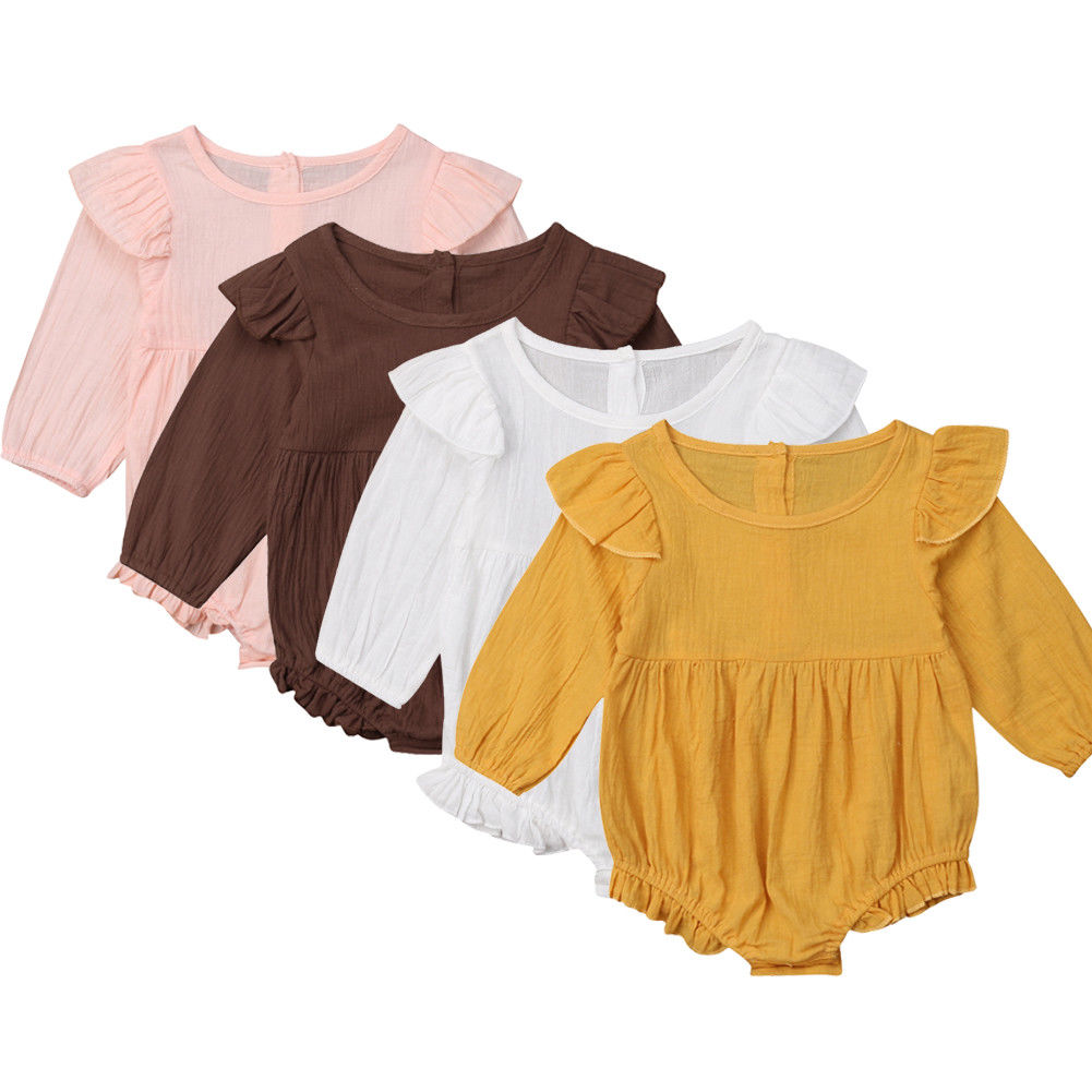 0-3Y Newborn Kid Baby Girls   Rompers   Vintage Off Shoulder Long Sleeve Baby Girls   Romper   Jumpsuit Playsuit Baby Clothing