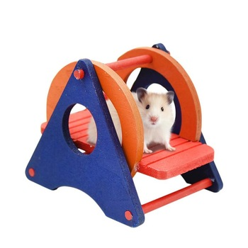 Hamster Toys Supplies Seesaw Rat Swing Mouse Harness Parrot Wooden Hamster Swing For Little Pet Exercise Sport Play