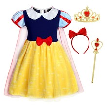 AmzBarley Girls Snow White Princess Dress Up Fancy Halloween Cosplay Costumes with cloak kids Puff Sleeve Birthday Party outfits