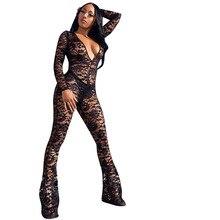 Sexy women  romper deep v long sleeve jumsuit lace bodysuit F8147