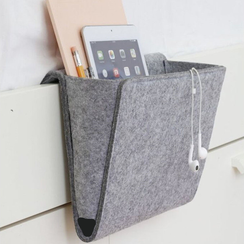 Felt Multifunction Bedside <font><b>sofa</b></font> Hanging holder storage organizer box magazine smart phone <font><b>remote</b></font> controll storage bag <font><b>Pockets</b></font> 27 image