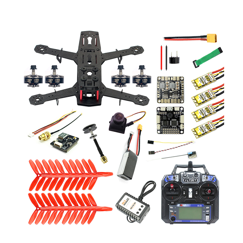 Bricolage 250 Kit complet FPV quadrirotor caméra Drone 250 MM cadre en Fiber de carbone SP Racing F3 FC Flycolor Raptor BLS Pro-30A ESC 700TVL