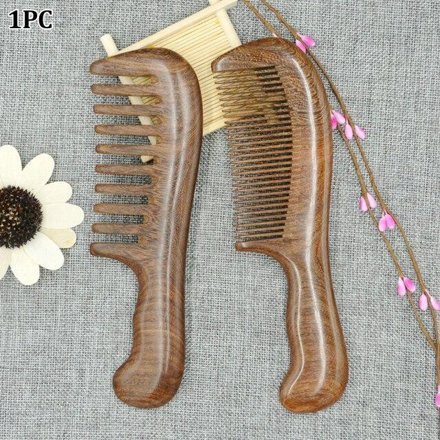 עץ סלון מותניים ניחוח אנטי סטטי ארוך רחב שן Detangle בית טבעי אלגום מסרק עיסוי שיער כלים נשים
