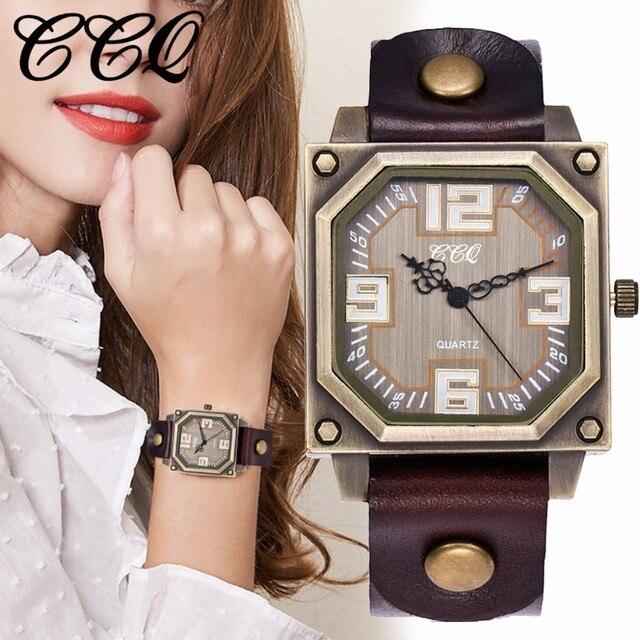 נשים גברים אמיתי בציר עור כיכר שעונים מקרית נקבה זכר ספורט קוורץ שעון שעון CCQ מותג Dropshipping