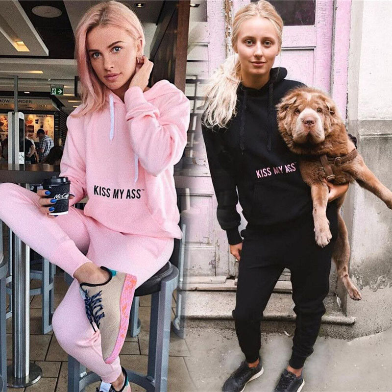 Women Fashion Casual Active 2PCS Long Sleeve Hooded Pullover Letter Solid Pocket Sweatshirt Tops Elastic Waist Pants 2 Style
