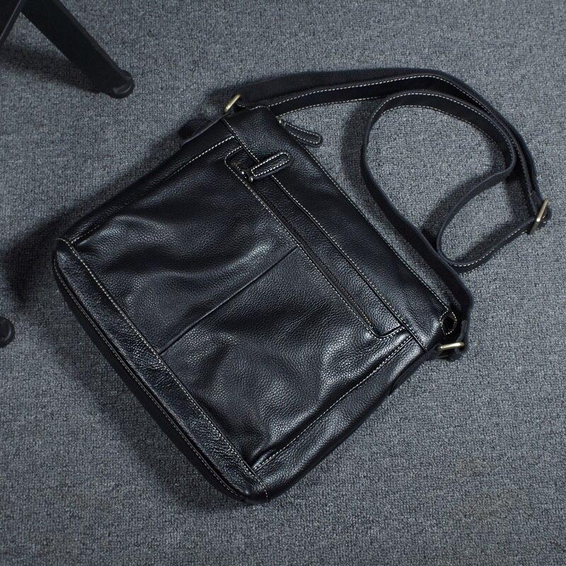Nouveau sac à main pour ordinateur portable de haute qualité pour hommes en cuir véritable sac petit messenger sacs de mode conception de marque sac à bandoulière pour hommes noir