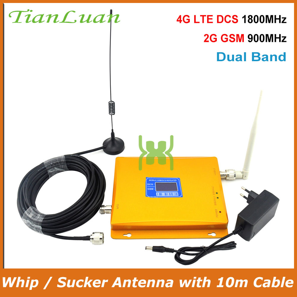 TianLuan GSM 900Mhz DCS 1800MHz Dual Band Mobile Phone Signal Booster 2G 4G Repeater Signal Amplifier with Whip / Sucker AntennaTianLuan GSM 900Mhz DCS 1800MHz Dual Band Mobile Phone Signal Booster 2G 4G Repeater Signal Amplifier with Whip / Sucker Antenna