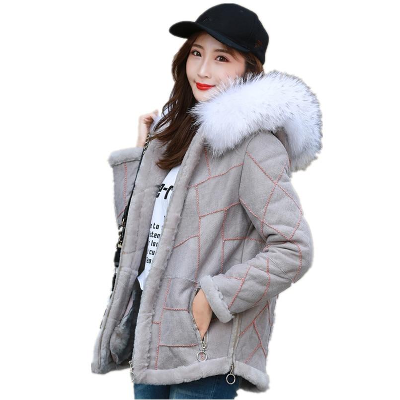 Véritable manteau de fourrure femmes veste métallique hiver chaud en cuir véritable avec veste de fourrure avec grand naturel fourrure de raton laveur garniture capuche C182