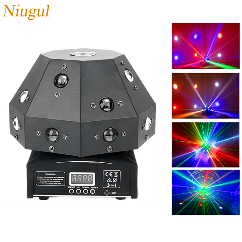 16X3W LED Mushroom Light,RGBW Beam+Green Laser 2IN1 Stage Moving Head Lights,DMX512 Laser Light DJ /Bar /Party /Show /Lighting