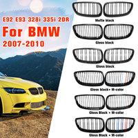 Gloss Matte Black M color Dual Line Front Grille Kidney Grill For BMW E92 E93 M3 328i 335i 2Door 2007 2008 2009 2010 Car Styling