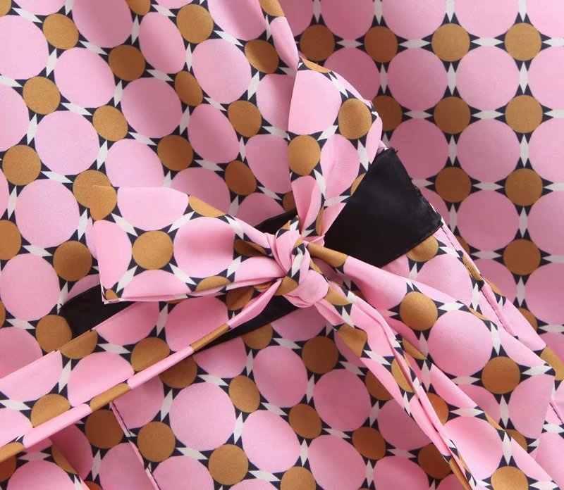 2020 Geometris Percetakan Bulu Kimono Mantel Sabuk Longgar Mantel Wanita Lebar Kaki Celana Piyama Merah Muda Dua Sepotong Set Wanita musim Panas