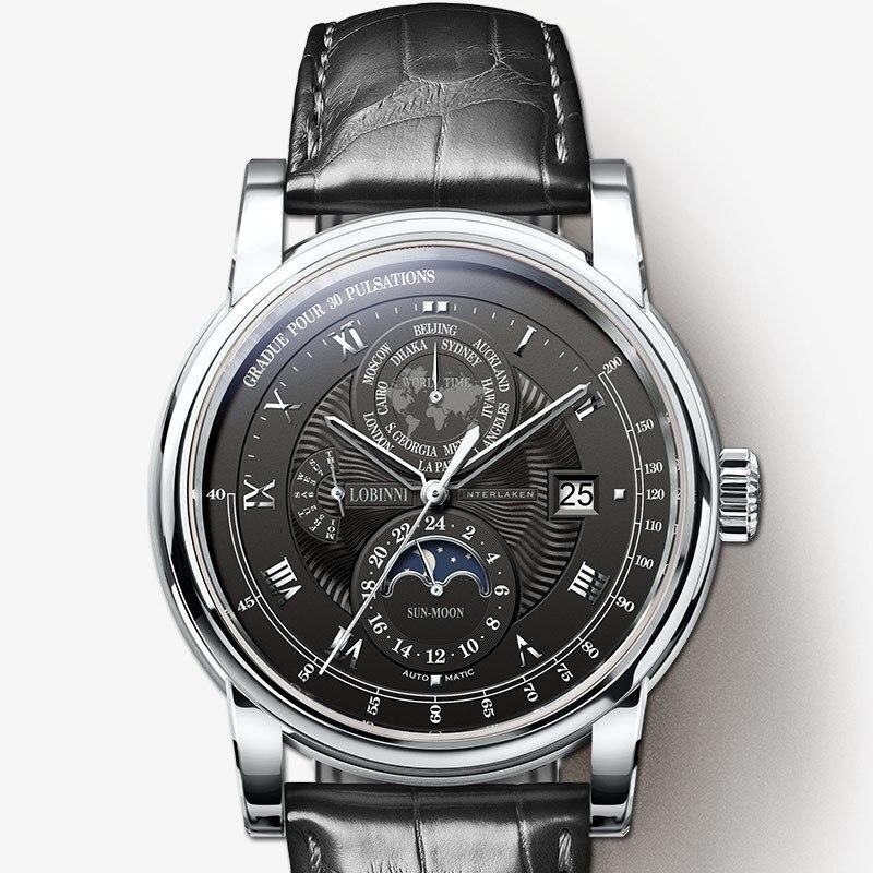 LOBINNI Men Watch Luxury Brand Moon Phase Auto Mechanical Men s Wirstwatches Sapphire Leather World Time
