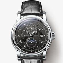 LOBINNI Männer Uhr Luxus Marke Mond Phase Auto Mechanische herren Wirstwatches Sapphire Leder Welt Zeit relogio Uhr L16003 2