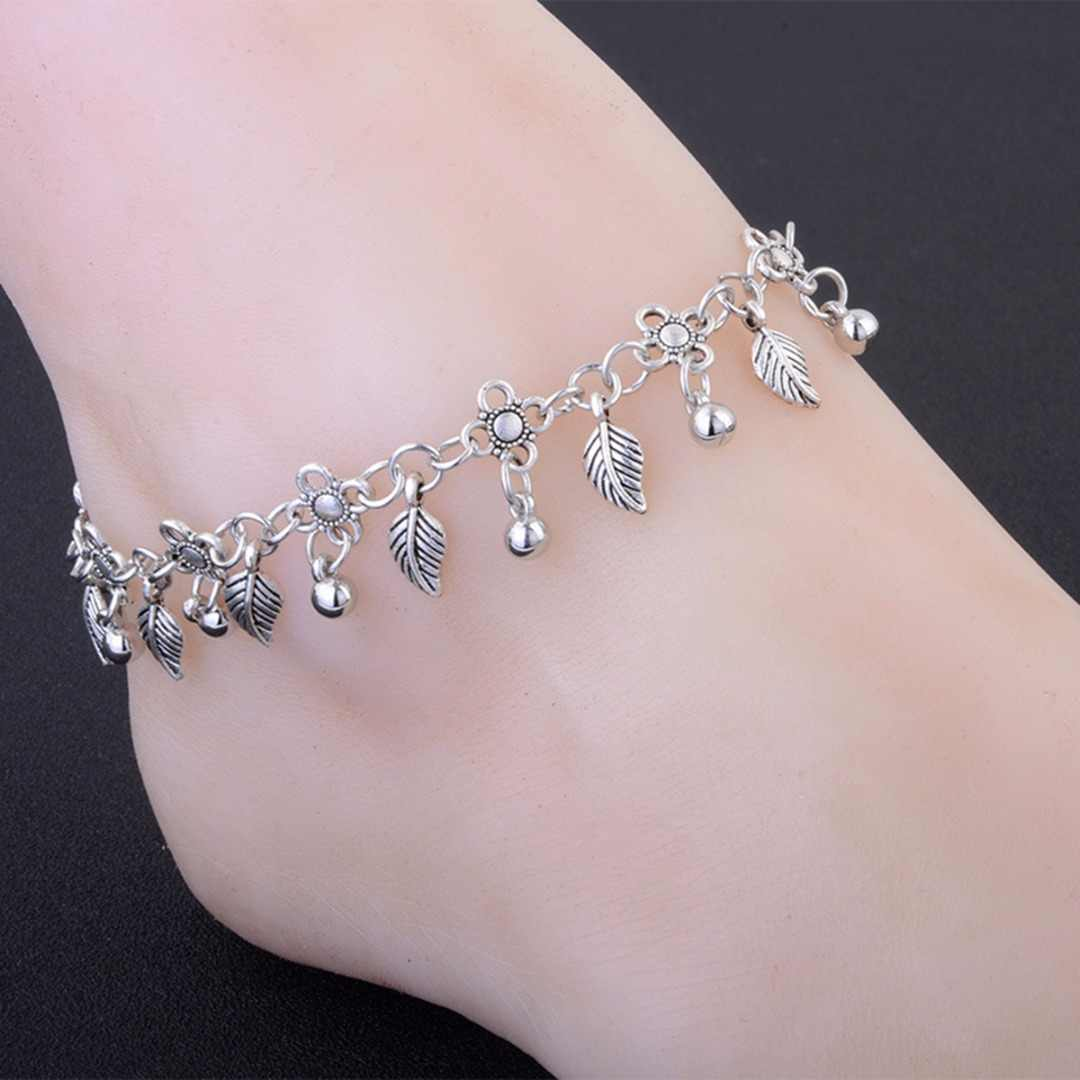 0da5a5c991f95 Saino Leaf Tassel Ankle Bracelet Sliver Color Beaded Feather Barefoot  Sandals Anklets Women Foot Chain Beach Jewelry Gift