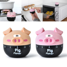 60 minutes Kitchen Timer Cartoon Pig Shaped Home Kitchen Alarm Clock Countdown Piglet Machinery Electronic Timer Cooking Tools29 цена и фото