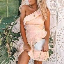 Casual Polka Dot Short Dress Girls 2019 Summer NEW One-Shoulder Sleeveless Ruffle Chiffon Dress Women Vestidos
