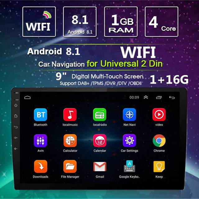 9'' Android 8 1 Quad Core Car GPS Nav Radio Video Player Stereo Universal  2DIN Touchable bluetooth WiFi DAB Multimedia Player