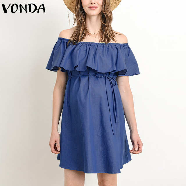 8d95989ee9cc6 VONDA Women Sexy Mini Dress 2019 Summer Pregnant Casual Slash Neck Off  Shoulder Short Sleeve Ruffles
