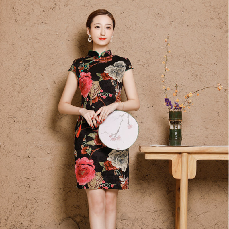 Image 5 - 5XL Women's Cotton Oriental Style Dresses Printing Elastic Qipao New Short Cheongsam Restore Ancient Traditional Chinese Dress-in Cheongsams from Novelty & Special Use