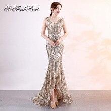 Vestido Lentejuelas Fiesta V Neck Mermaid Sequins Lace Long Party Women Elegant Evening Dress Simple Prom Dresses 1578
