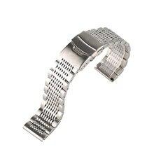 20/22/24mm Black/Silver Soild Stainless Steel Watchband Men Watches Metal Straps Bracelet Clock Replacement Watch Band Luxury