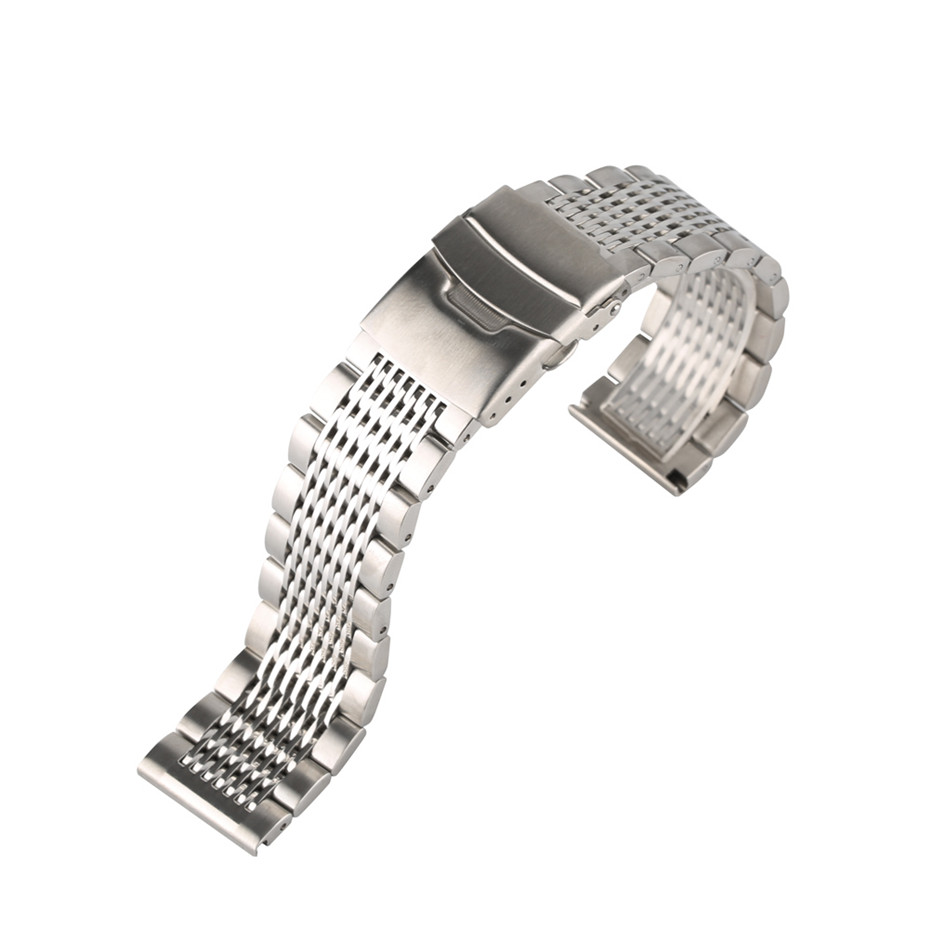 22mm Black/Silver Soild Stainless Steel Watchband for Men Watches Metal Straps Bracelet Clock Replacement Watch Band Luxury22mm Black/Silver Soild Stainless Steel Watchband for Men Watches Metal Straps Bracelet Clock Replacement Watch Band Luxury