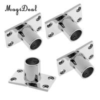 4x Boat Hand Rail Fitting 90 Deg 1' Stanchion Base Marine Stainless Steel for Water Sports Canoe Kayak Rowing Boat Accessories