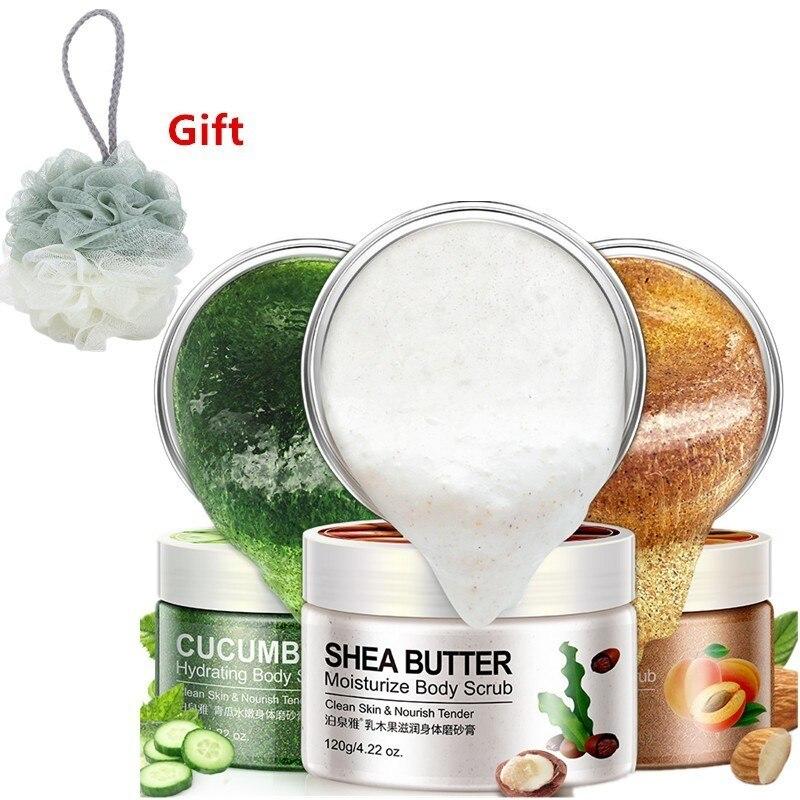 Exfoliating Gel Body Scrub Cream Shea Butter Fruit Cucumber Almond Skin Whitening Go Cutin Dead Skin Moisturizing Body Care 120G