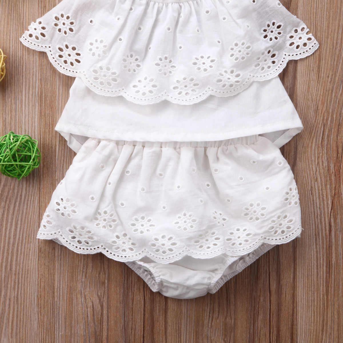 2019 Gadis Pakaian Set 0-24 M Anak-anak Bayi Bayi Gadis Renda Bunga Halter Rok Atasan Celana Pakaian Pakaian