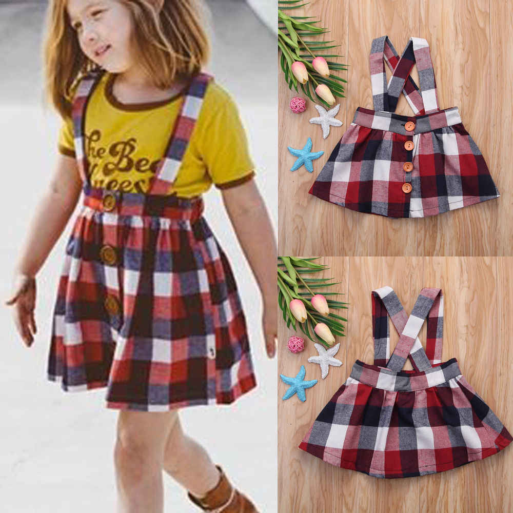 23d76c67a8 0-4Y Kids Baby Little Girl Skirt Baby Girl Princess Vintage Red Plaid  Straps Skirts Cotton Clothes Outfits Girl Skirt