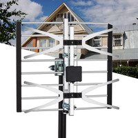 Digital Outdoor Indoor Amplified TV Antenna 120 Miles Range Attic Aluminium HDTV Aerial Signal Booster Equipment Kit Set