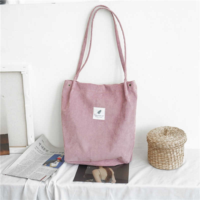 Bolso de mano de lona para mujer 2019 bolso de compras de pana de tela ecológica para mujer Bolso grande plegable de hombro reutilizable bolsa de compras plegable