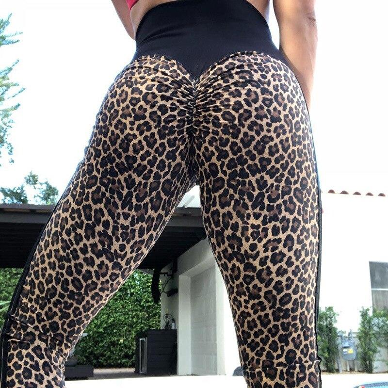 CHRLEISURE Women Sexy Leopard Leggings Push Up High Waist Leggins Famle Side Stripe Polyester Leggings Pants Women