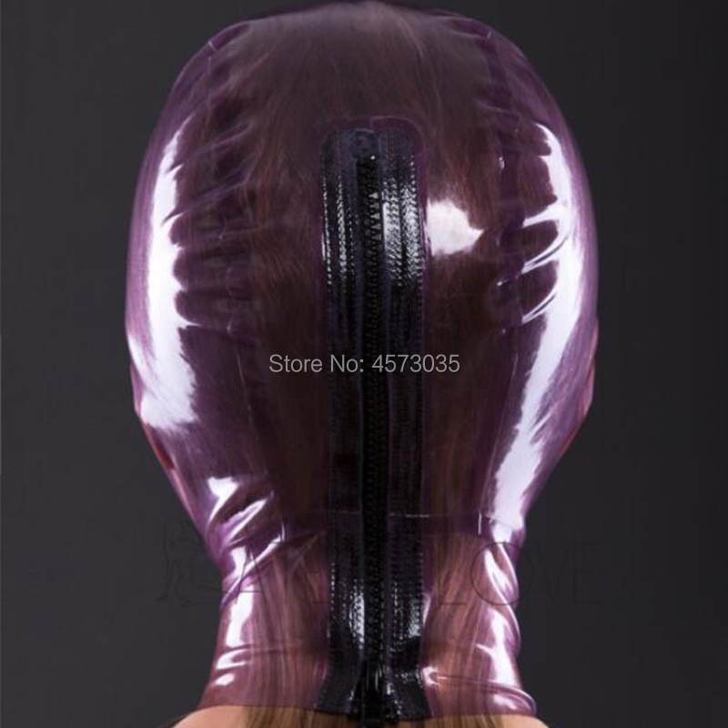 Image 3 - sexy handmade women female unisex exotic transparent purple latex inflatable full breath hole hoods mask cekc lingerie uniform-in Teddies & Bodysuits from Novelty & Special Use