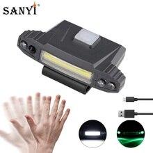 Sanyi COB LED kep lambası far USB şarj kafa lambası indüksiyon feneri klip şapka ışık balıkçılık kafa lambası pil ile