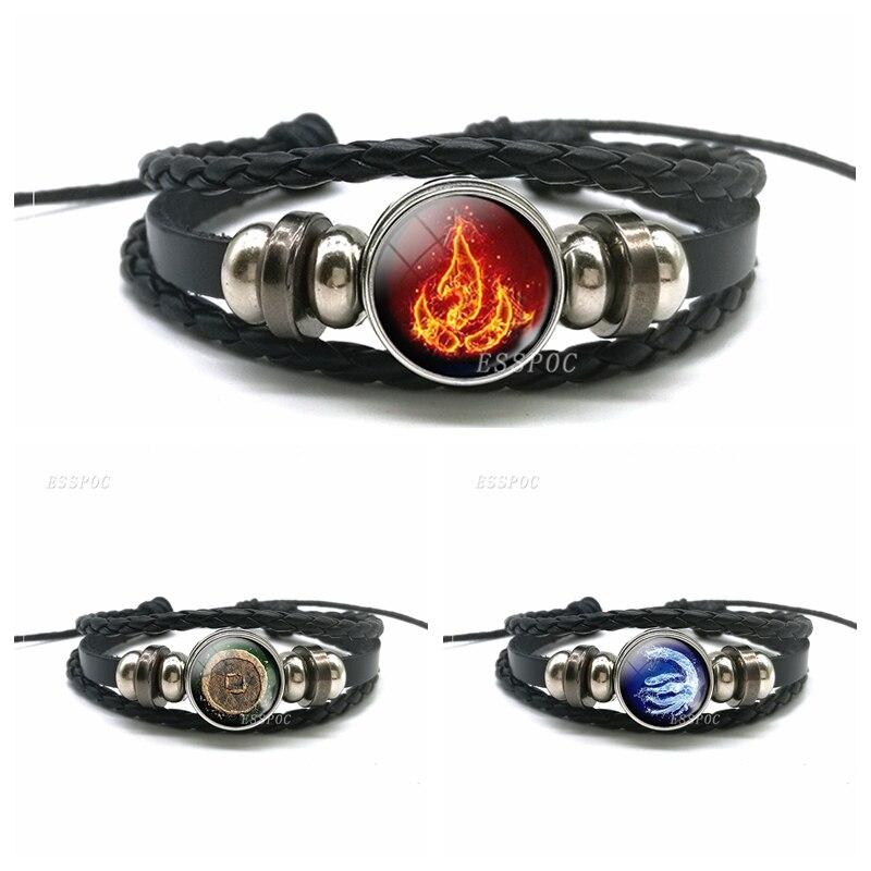 Avatar: La última pulsera de piel negra con Logo de la Nación del Fuego de Aang Prince Zuko, accesorios de regalo para Cosplay|Pulseras envolventes|   - AliExpress
