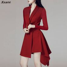 Xnxee 2019 New Arrival Full Sleeve Midi Sexy Asymmetrical V Neck Elegant Women Lady Suit  Dress Vestidos