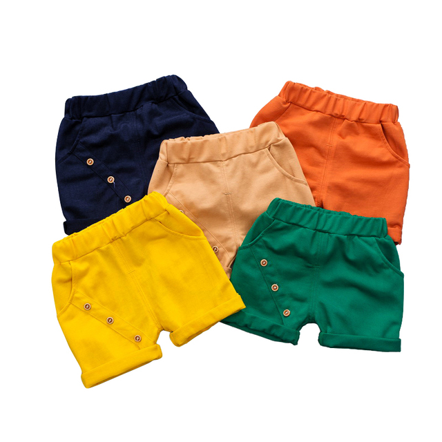 fd9167c80b67 kids summer shorts age for 1-6 yrs baby boys casual candy color beach  clothes 2019 spring cotton button simple loose short pants