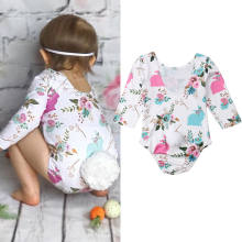 2019 New Newborn Toddler Baby Girl Rabbit Tail Long Sleeve Floral Romper Jumpsuit Casual Baby Girl Clothes(China)