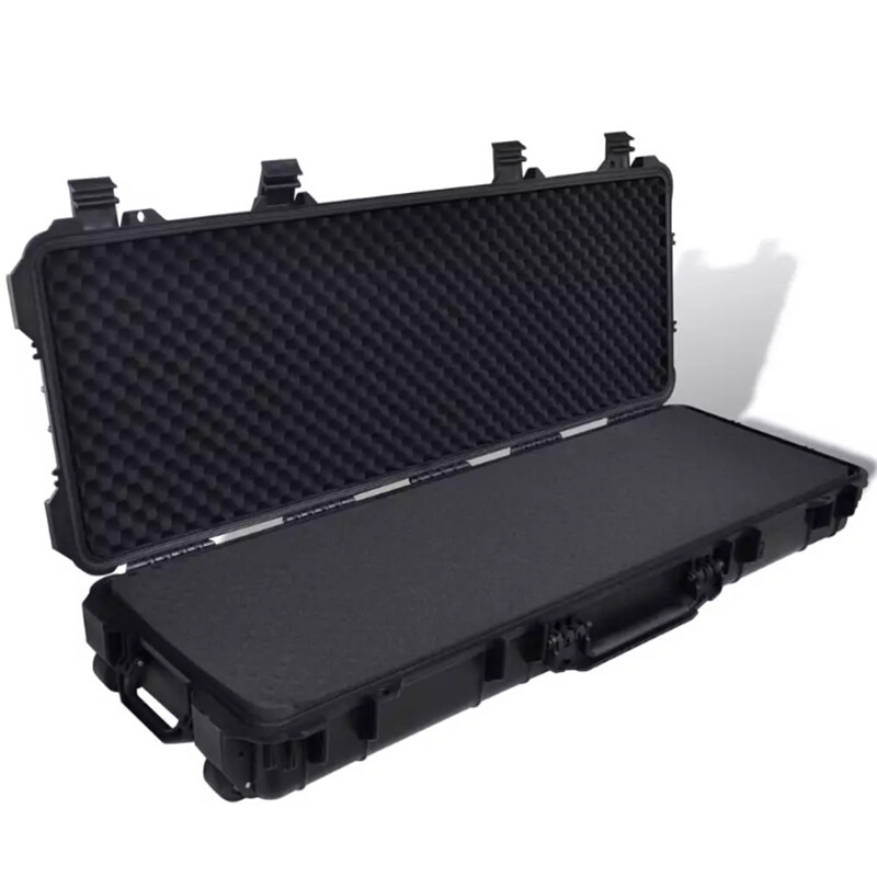 VidaXL Plastic Molded Gun Case 3 Handles And 2 Wheels Trolly Carry Case Hunting Rifles Pistols Guns Transporter Storage Box