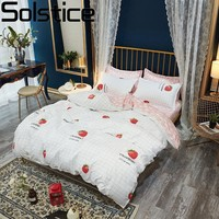 Solstice Comforter Bedding Sets Cartoon Princess Girl Strawberry Flat Bed Sheet Twin Full Queen King Size Bedclothes Pillowcases