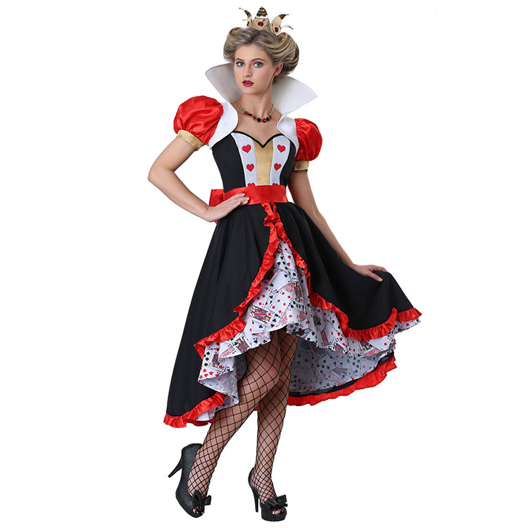 Adult Woman Flirty Queen of Hearts Alice In Wonderland Storybook And Fairytale Cosplay Clothing Carnival Party Halloween Costume