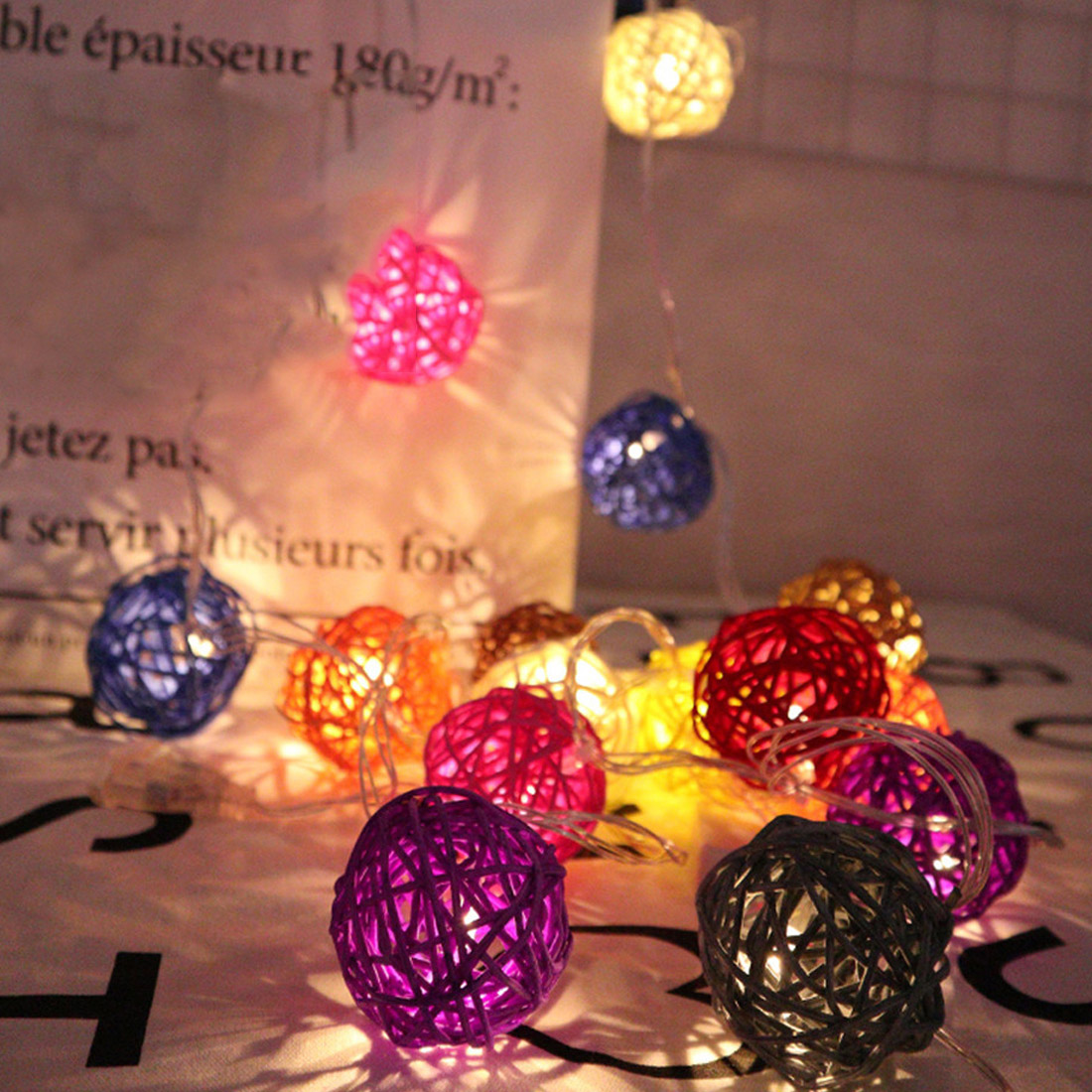 3m 20 Rattan Balls Lights Led String Fairy Holiday Christmas Lights Outdoor Decoration3m 20 Rattan Balls Lights Led String Fairy Holiday Christmas Lights Outdoor Decoration